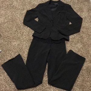 Women's black pinstripe pantsuit